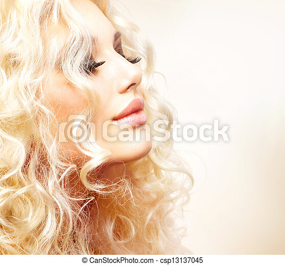 Beautiful Girl with Curly Blond Hair  - csp13137045