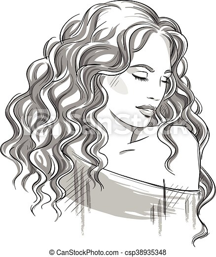 Sketch Of A Beautiful Girl With Curly Hair Black And White