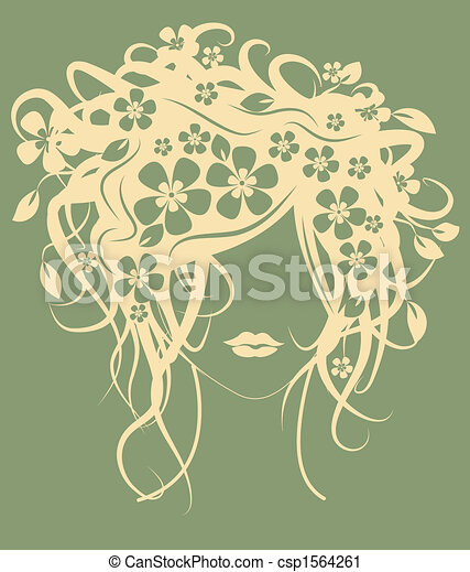 Beautiful girl with flowers in hair - csp1564261