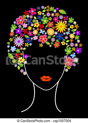 Beautiful girl with flowers in hair - csp1007004