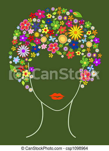 Beautiful girl with flowers in hair - csp1098964