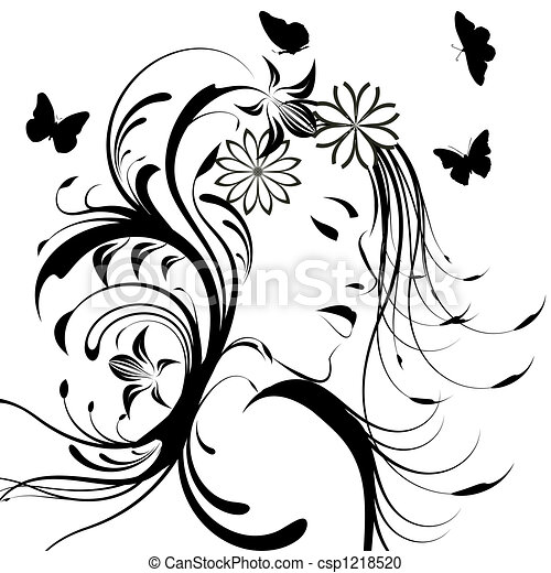 Beautiful girl with flowers in hair - csp1218520
