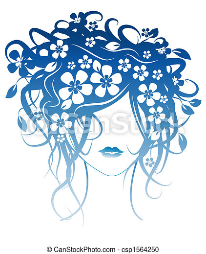 Beautiful girl with flowers in hair - csp1564250