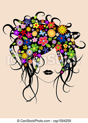 Beautiful girl with flowers in hair - csp1564259