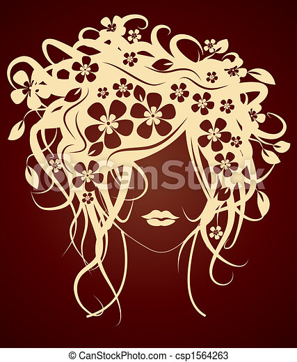 Beautiful girl with flowers in hair - csp1564263