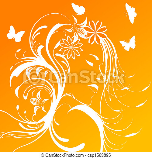 Beautiful girl with flowers in hair - csp1563895