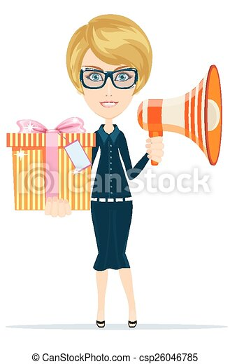 Beautiful girl with gifts, vector  - csp26046785