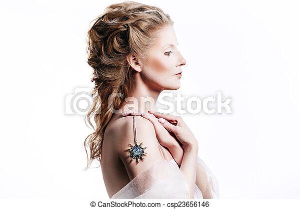 Beautiful girl with glamour Christmas makeup - csp23656146