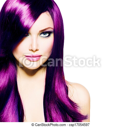 Beautiful Girl with Healthy Long Purple Hair and Blue Eyes - csp17054597