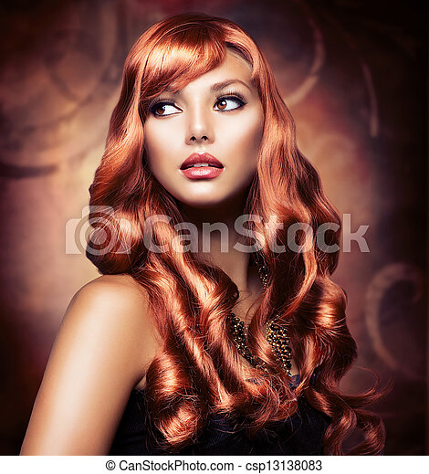 Beautiful Girl With Healthy Long Red Hair - csp13138083