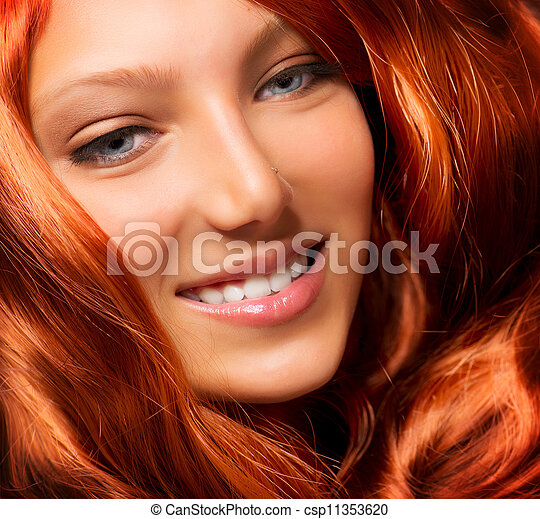 Beautiful Girl With Healthy Long Red Curly Hair. Extension - csp11353620