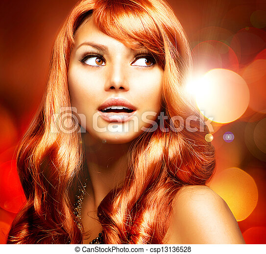 Beautiful Girl With Healthy Long Red Hair  - csp13136528