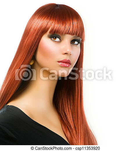 Beautiful Girl with Healthy Long Straight Hair - csp11353920