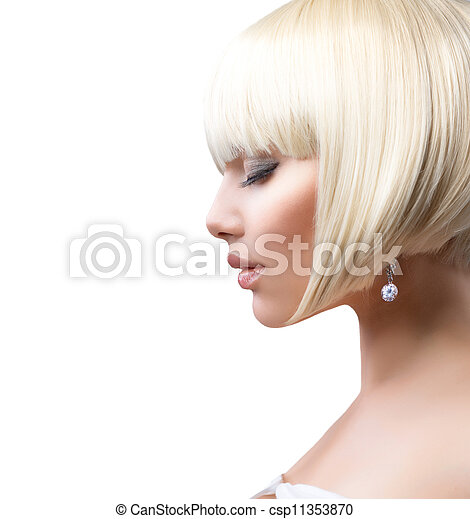 Beautiful Girl with Healthy Short Hair over White - csp11353870