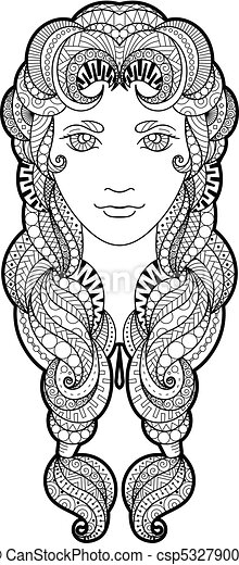 Beautiful Girl With Intricately Patterned Zentangle Braid And