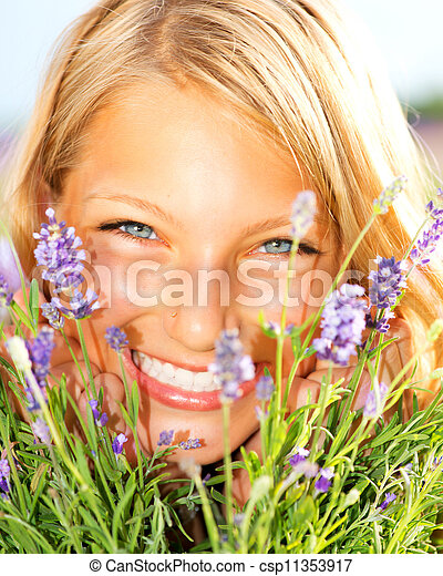 Beautiful Girl With Lavender  - csp11353917