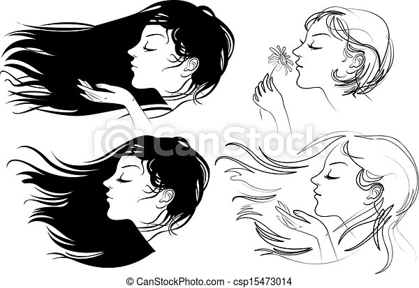 Beautiful Girl With Long Hair Hair Fluttering Wind Vector Illustration