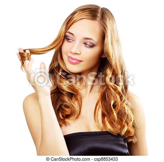 Beautiful girl with long wavy hair isolated on a white - csp8853433