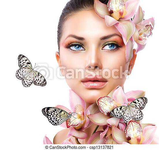 Beautiful Girl With Orchid Flowers and Butterfly  - csp13137821