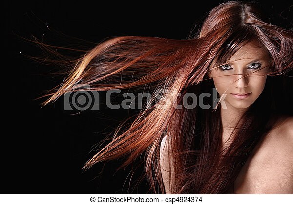 Beautiful girl with red hair - csp4924374