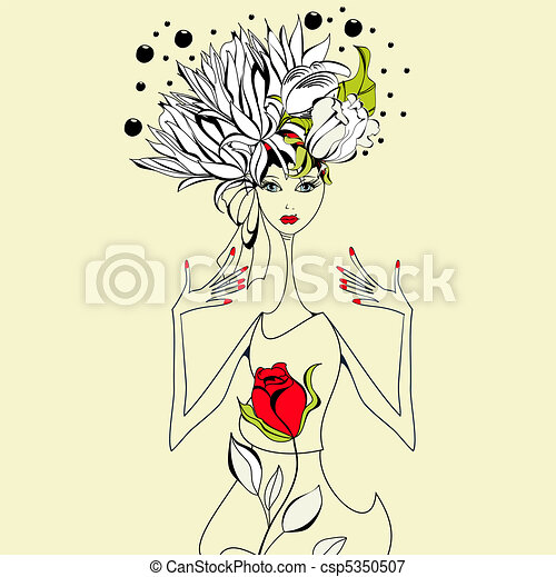 Beautiful girl with red rose - csp5350507