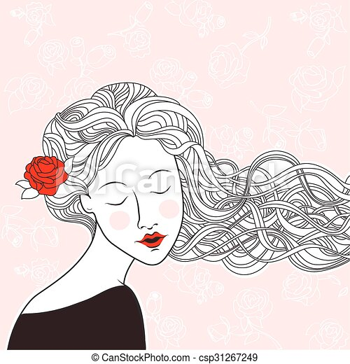 Beautiful Girl With Rose In Hair