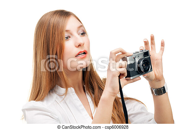 Beautiful Girl with the camera - csp6006928