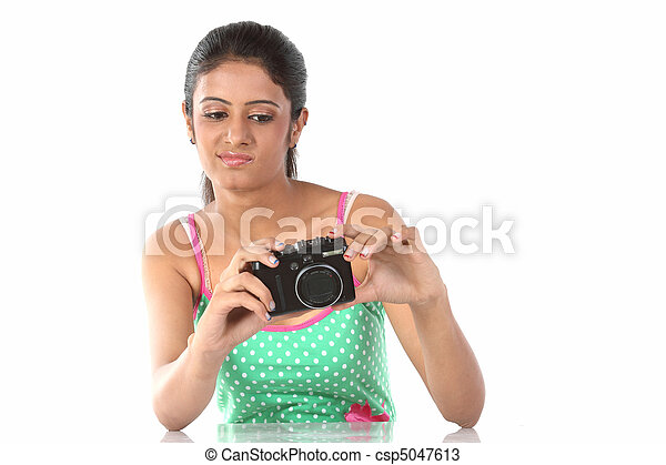 beautiful girl with the camera  - csp5047613