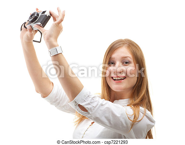 Beautiful Girl with the camera - csp7221293