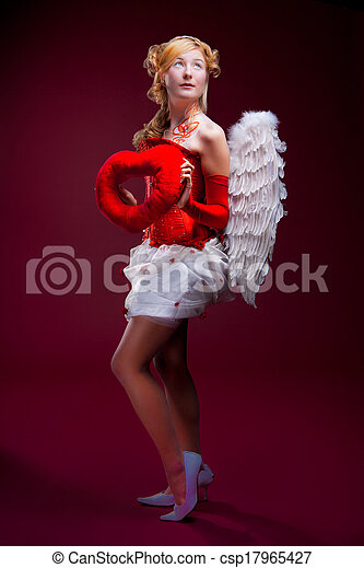 Beautiful girl with white wings - csp17965427