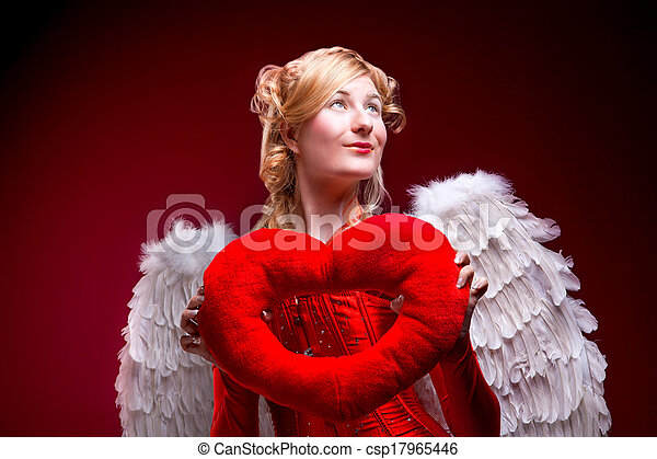 Beautiful girl with white wings - csp17965446