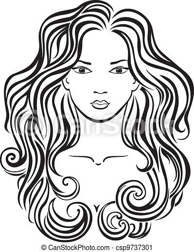 beautiful girl's face elegant line art of a beautiful girl