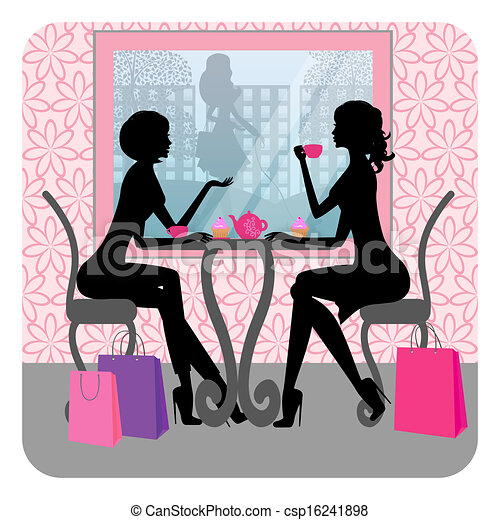 beautiful girls talking in a cafe - csp16241898