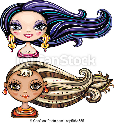 Beautiful girls with cool hair styl - csp5964555