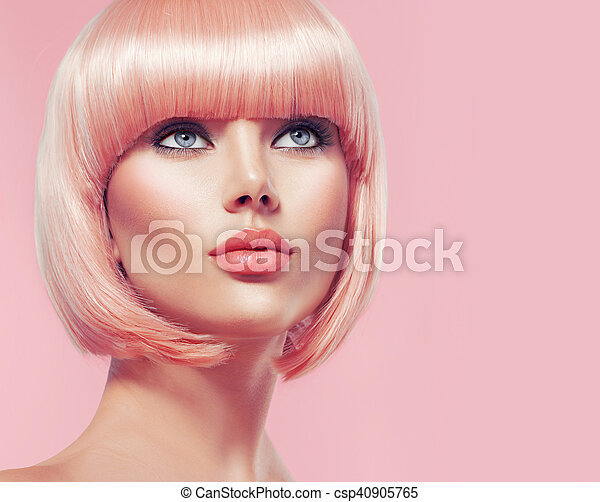 Beautiful glamour girl with short blonde hair - csp40905765