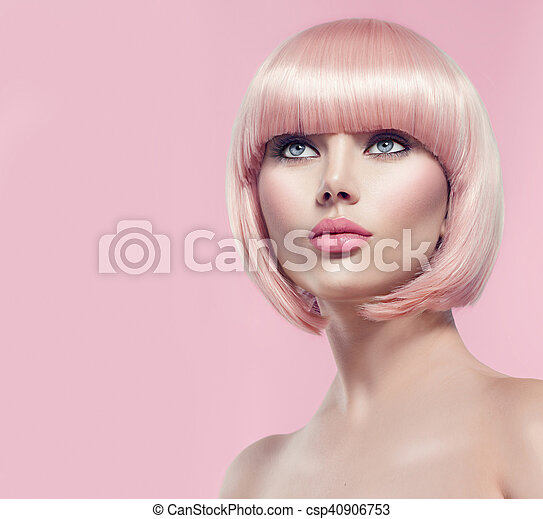 Beautiful glamour girl with short blonde hair - csp40906753
