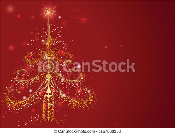 Beautiful Gold Christmas Tree Background