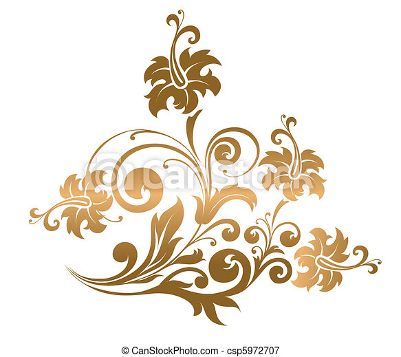 Beautiful gold ornament with flower - csp5972707