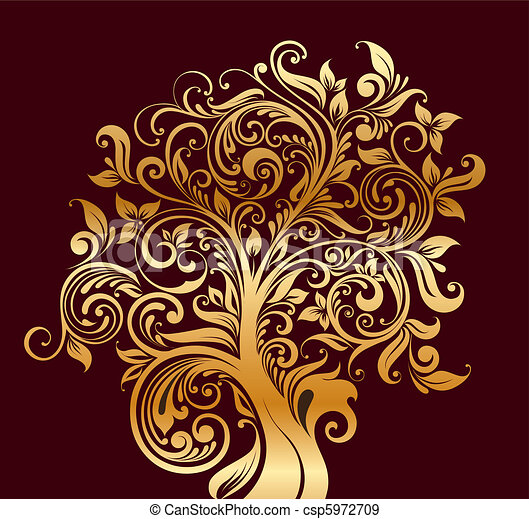 Beautiful gold tree with flowers an - csp5972709