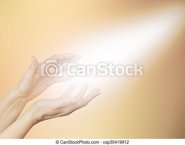 Beautiful Golden Healing Energy  - csp30419912
