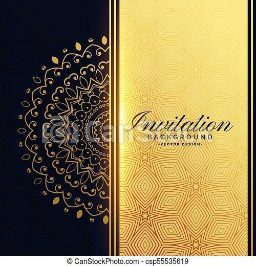 Beautiful Golden Invitation Background With Mandala Decoration