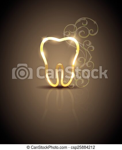 Beautiful golden tooth illustration - csp25884212