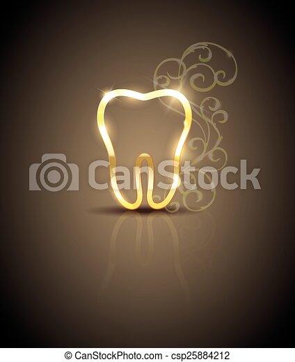 Beautiful golden tooth illustration - csp25884212