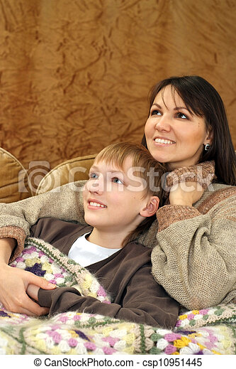Beautiful good Caucasian mother with her son - csp10951445