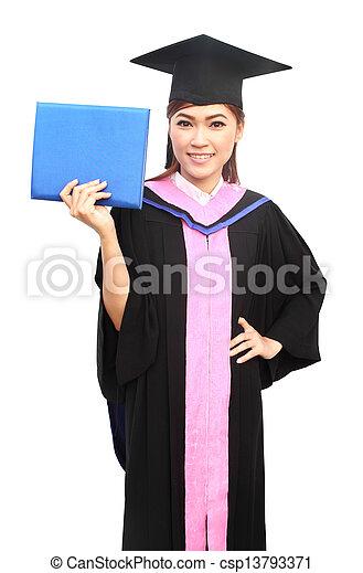 beautiful graduation girl holding her diploma - csp13793371