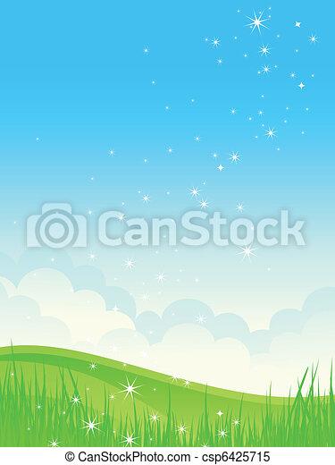 Beautiful green fields landscape. - csp6425715