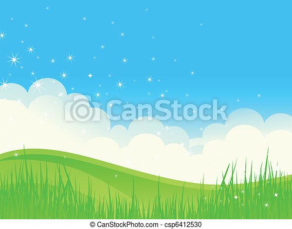 Beautiful green fields landscape. - csp6412530