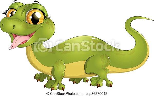 beautiful green lizard - csp36870048
