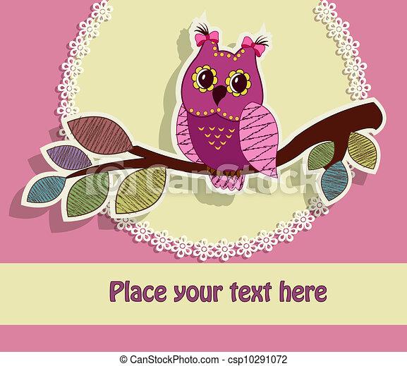 Beautiful greeting card with an owl - csp10291072