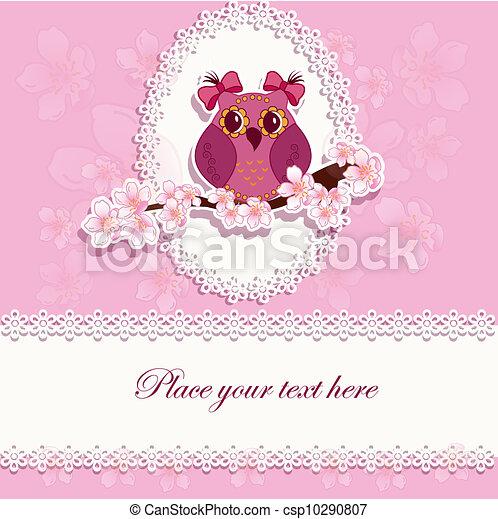 Beautiful greeting card with owl - csp10290807